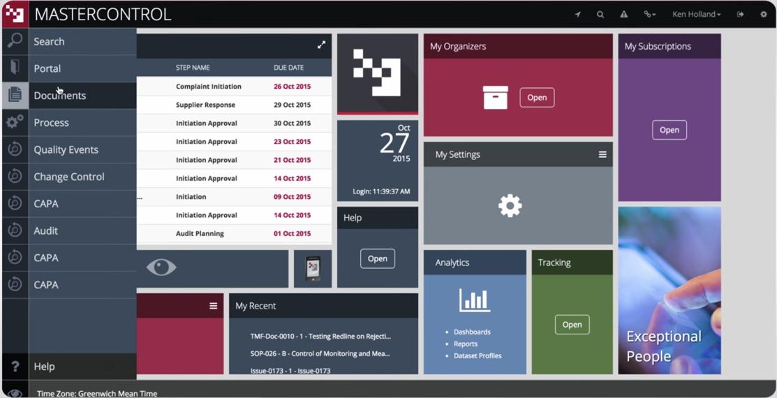 MasterControl Quality Excellence screenshot: MasterControl's main menu and dashboard modules