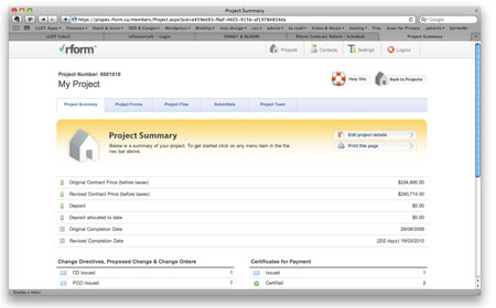 Rform screenshot: Project summaries provide an overview of costs and forms