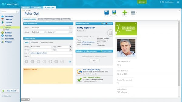 RAYNET CRM Software - Contact