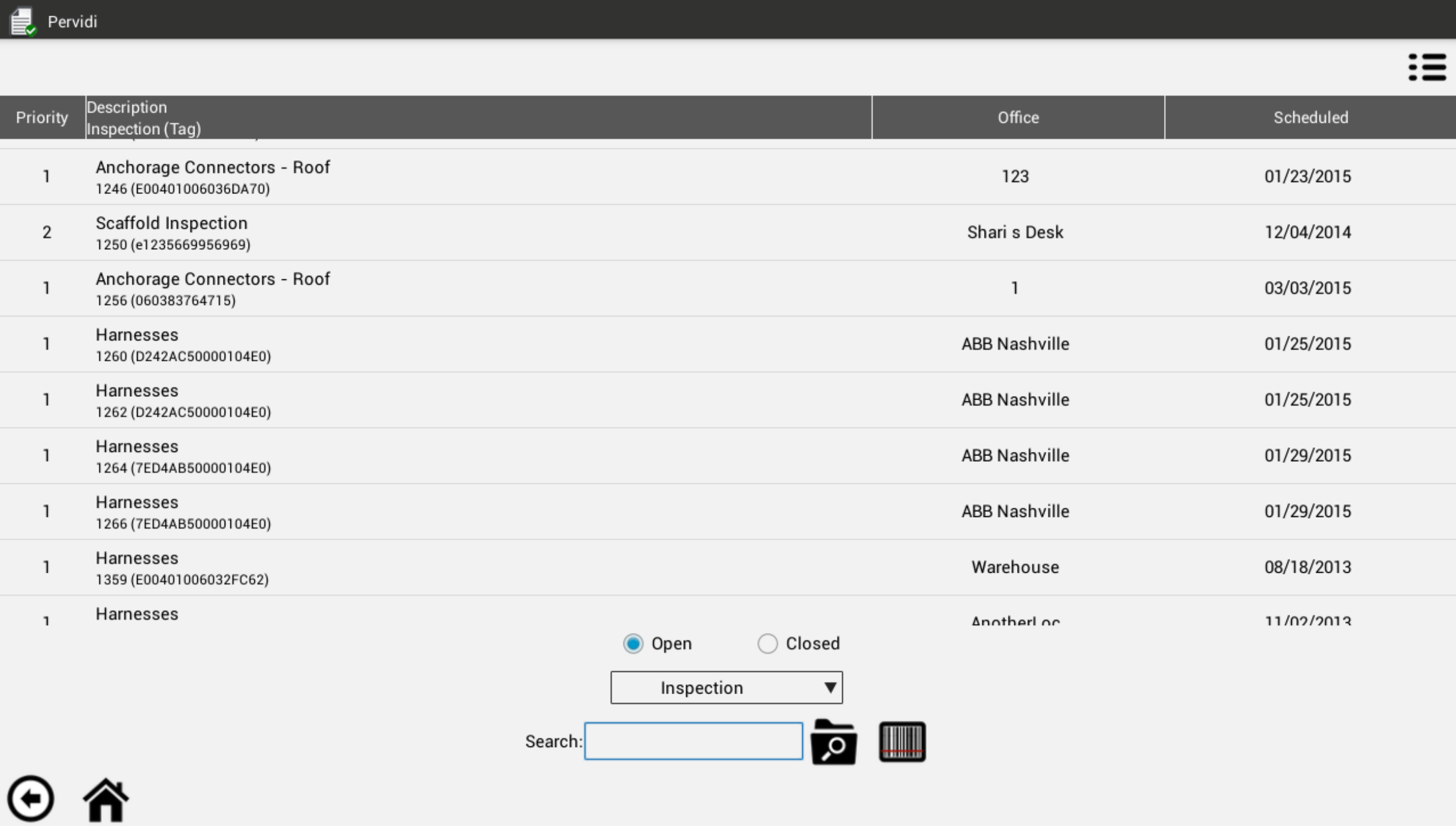 Pervidi Inspection screenshot: View priority on all inspections and their scheduled date