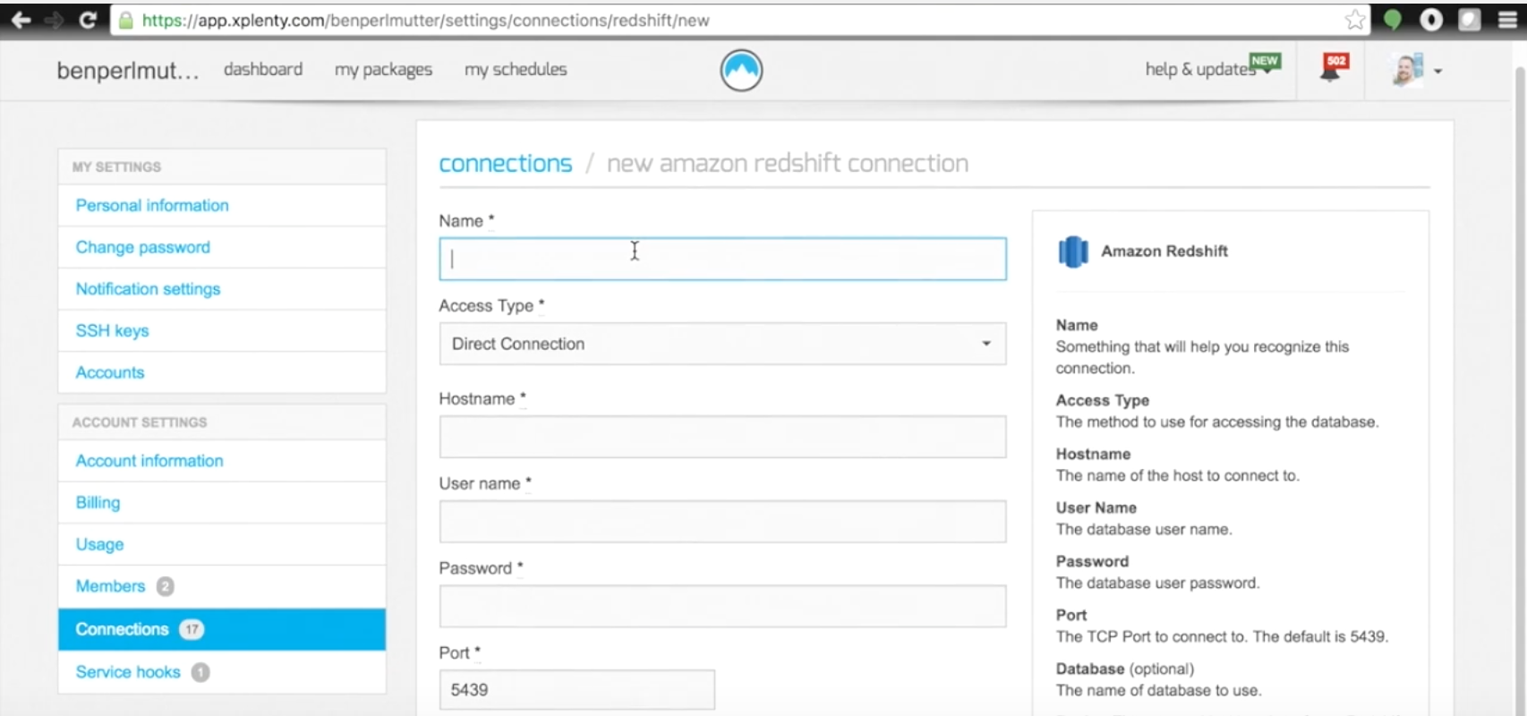 Enter details for new data connections