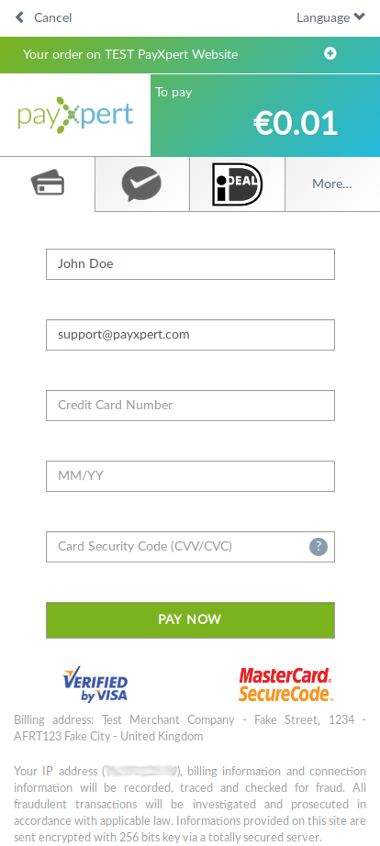 PayXpert Software - PayXpert payment page on mobile application
