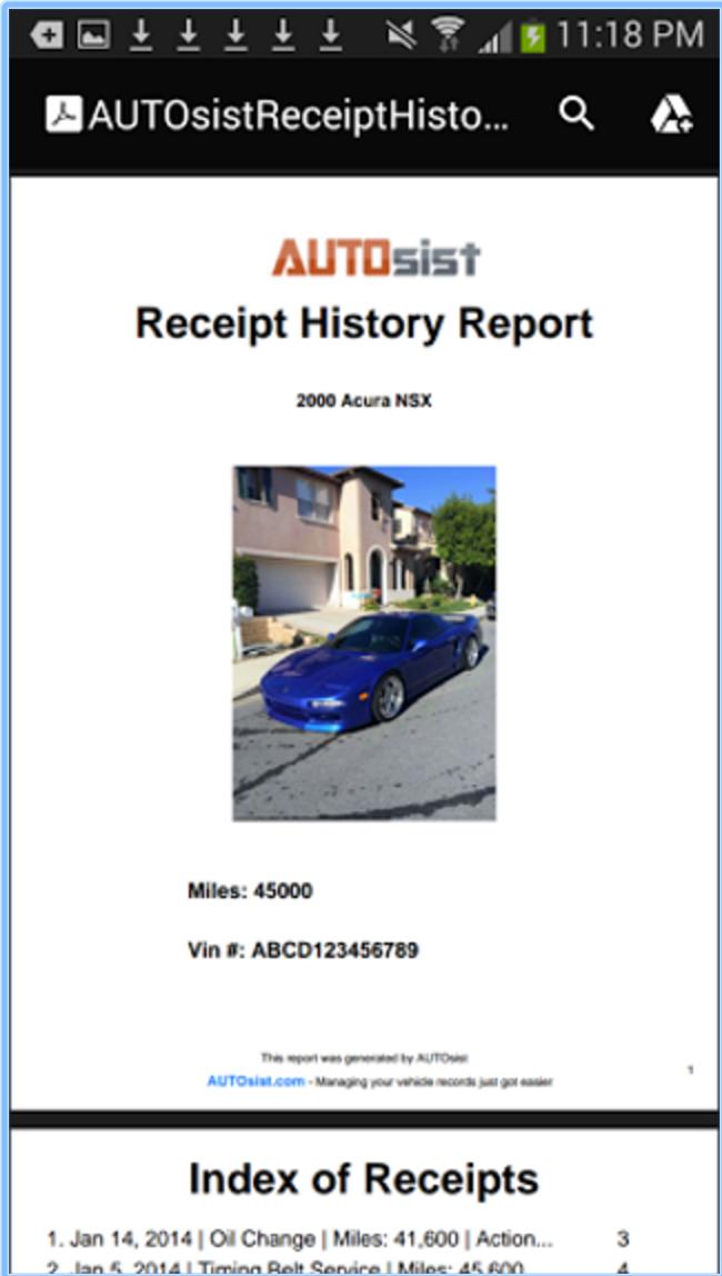 Run receipt history reports
