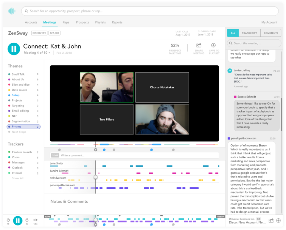 Record and analyze meetings and calls within Chorus