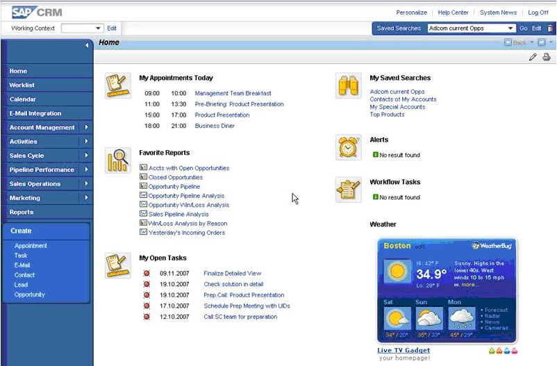 SAP Customer Experience Software - Task and schedule overview in SAP CRM On Demand