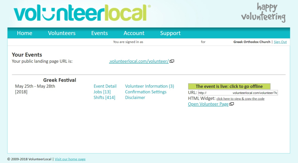VolunteerLocal Software - Create signup pages