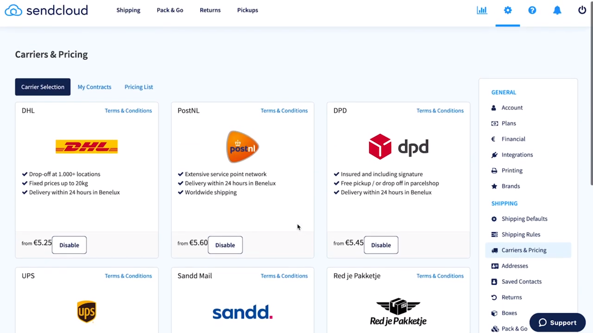 Sendcloud carriers and pricing