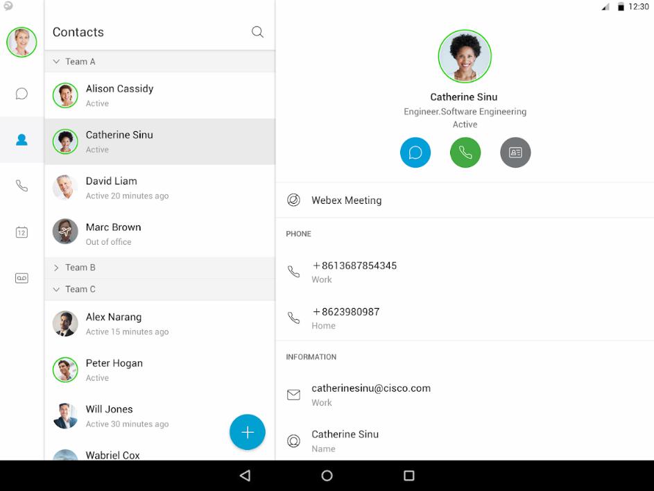 Cisco Jabber screenshot: Cisco Jabber contacts list