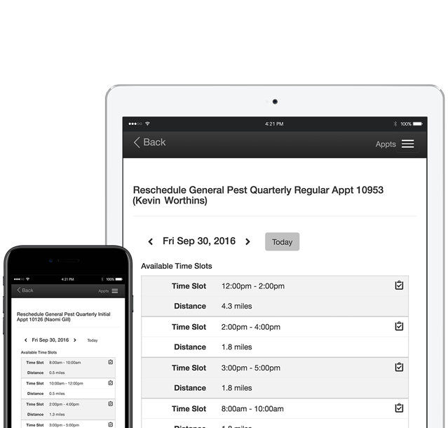 Briostack screenshot: Appointment management includes the ability to view time slot schedules on particular days and reschedule existing bookings