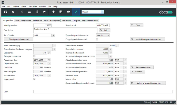 Fixed asset accounting features are also included in abas ERP