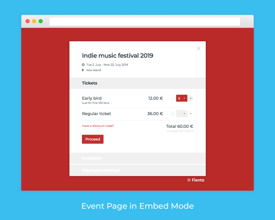 Embed the ticket buying process into the organization's website