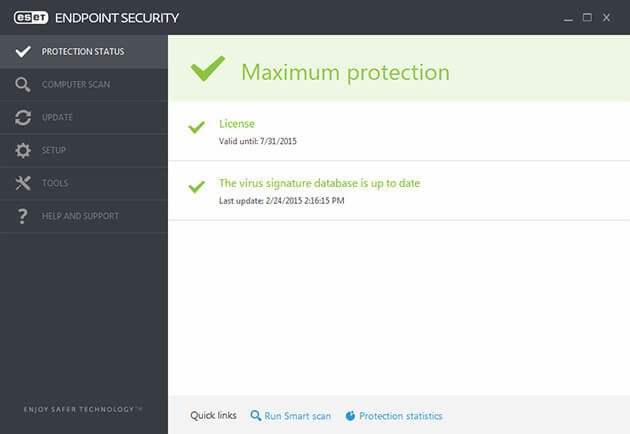ESET Endpoint Security protection status screenshot