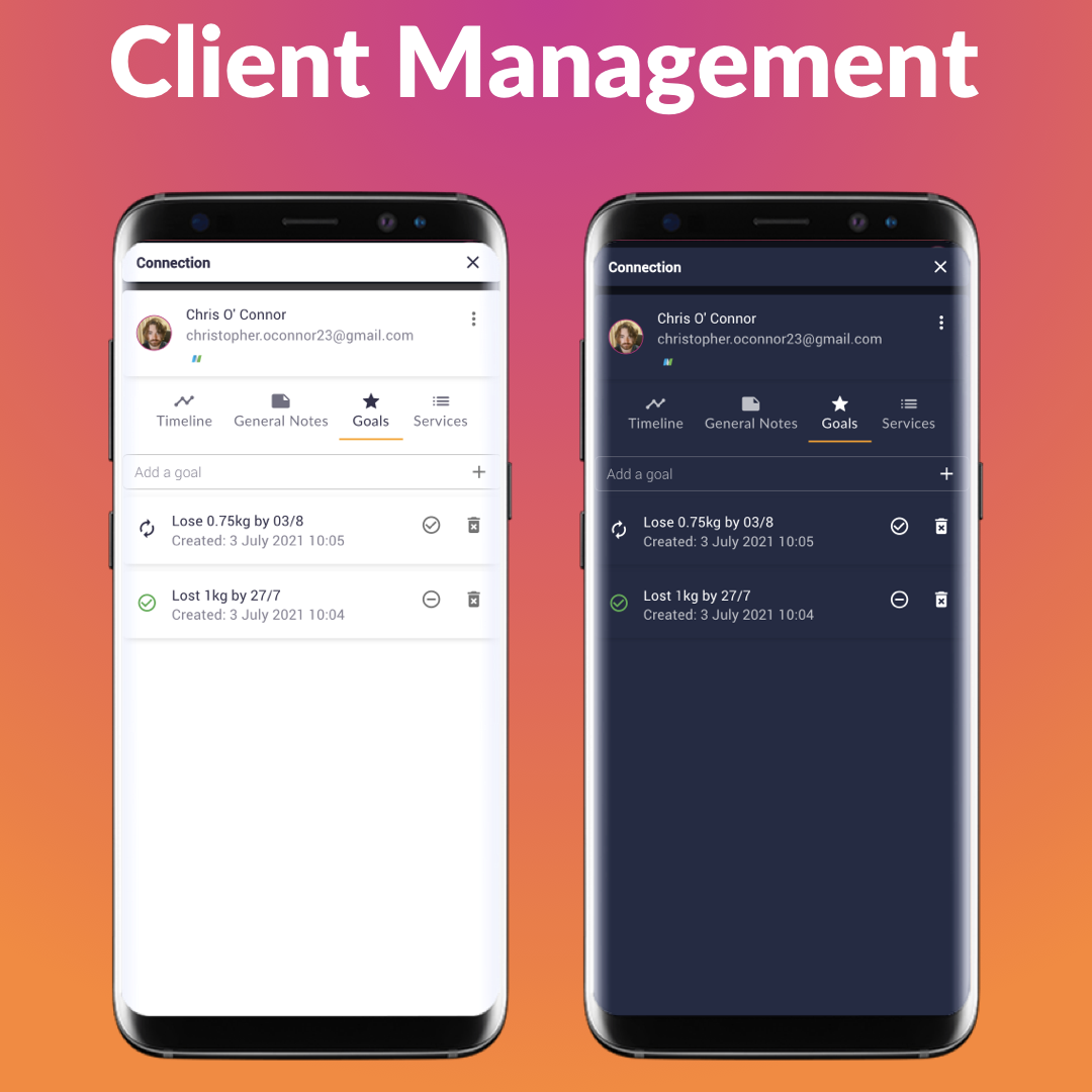 Keep track of your client in the palm of your hands! Store all data securely in one place.
