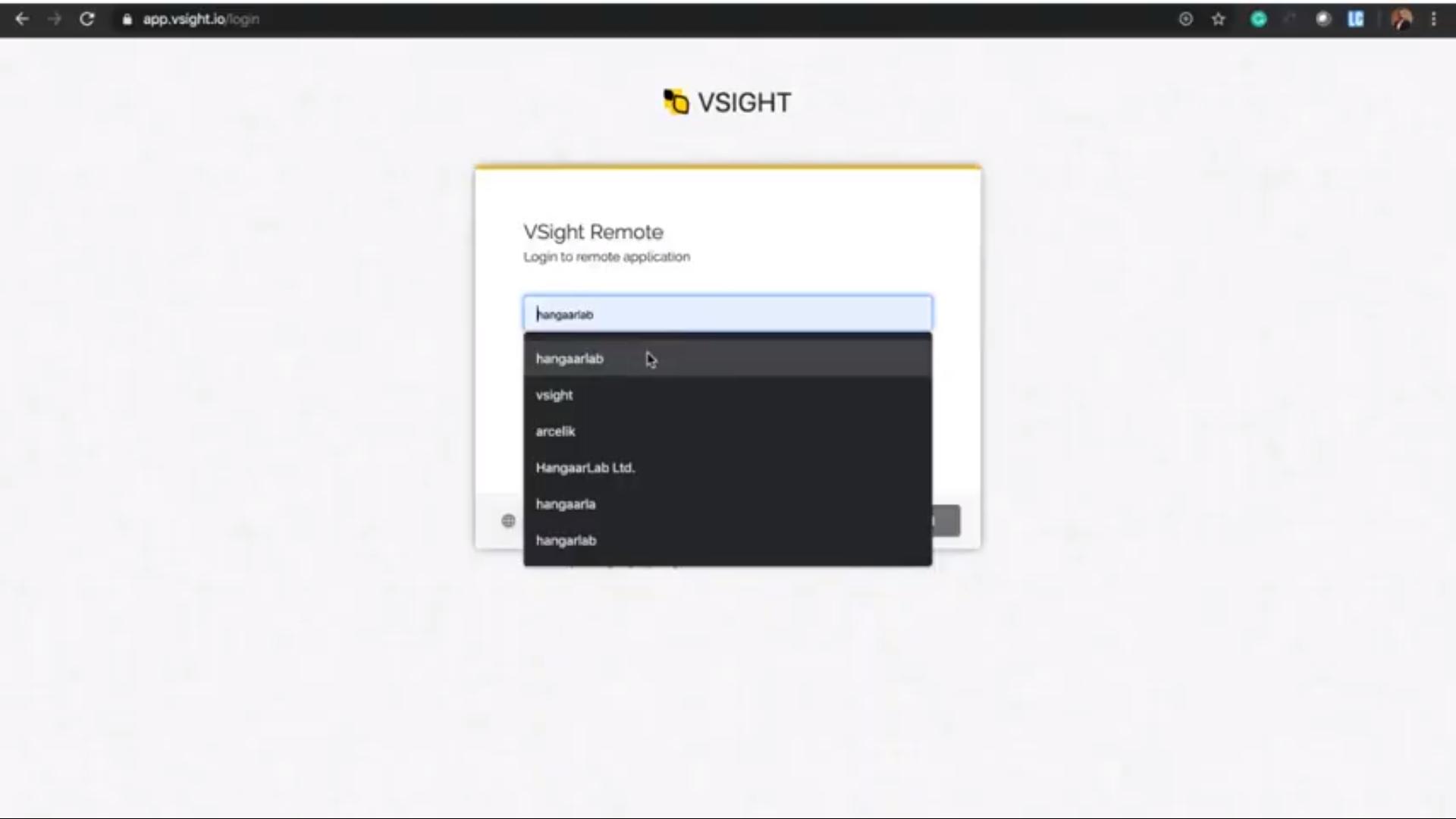 VSight Remote login
