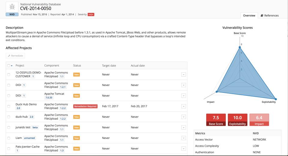 Black Duck Hub screenshot: View vulnerability data