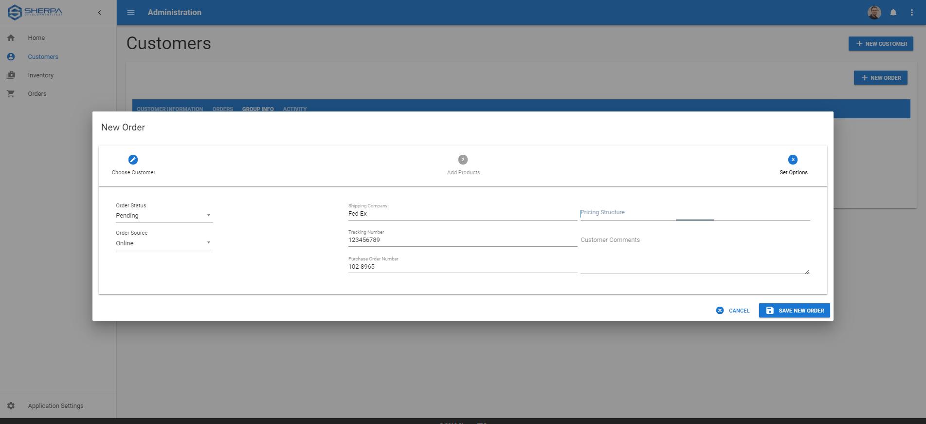 Sherpa ERP Software - Order creation