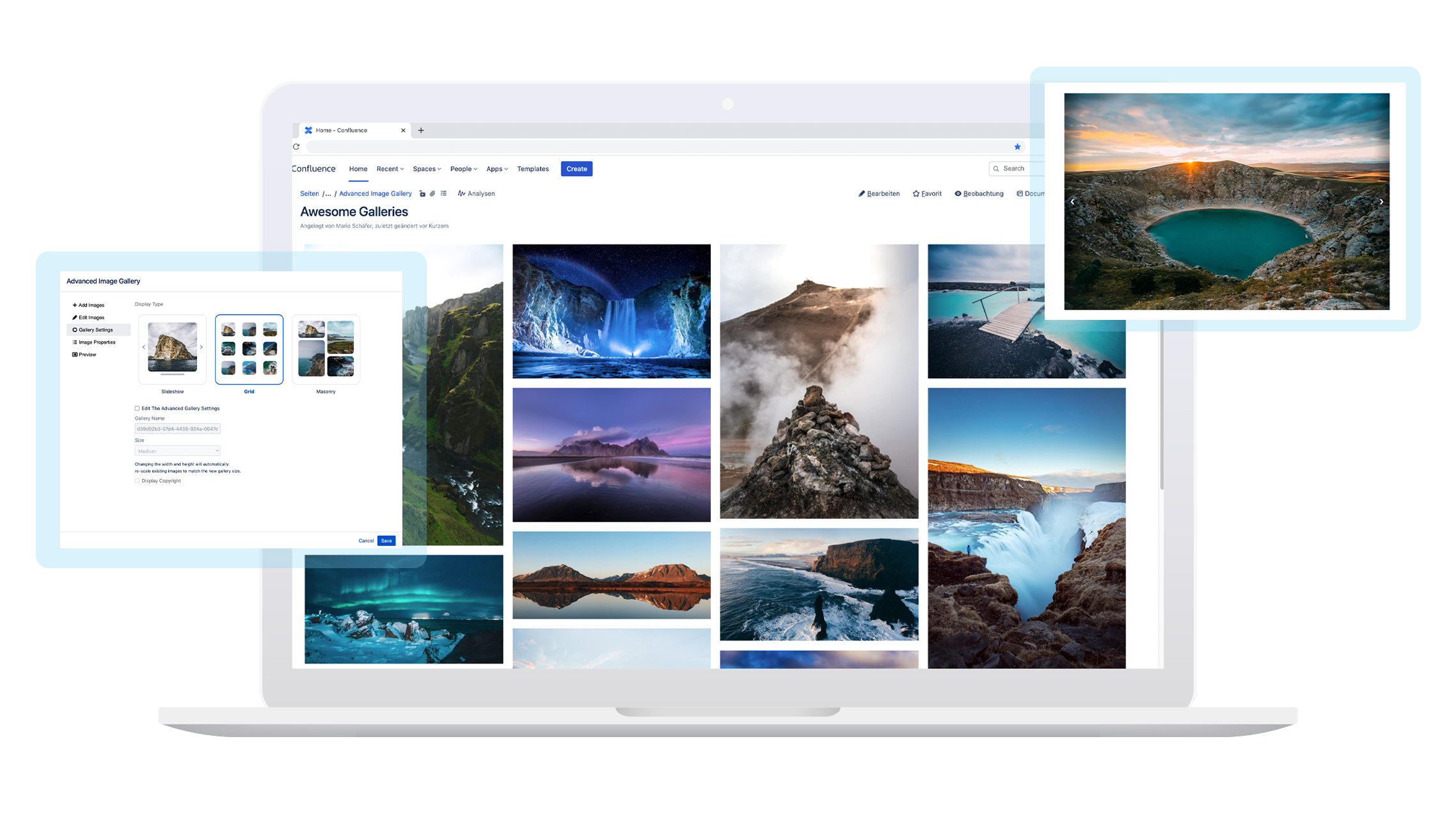 Display multiple images in confluence in style.