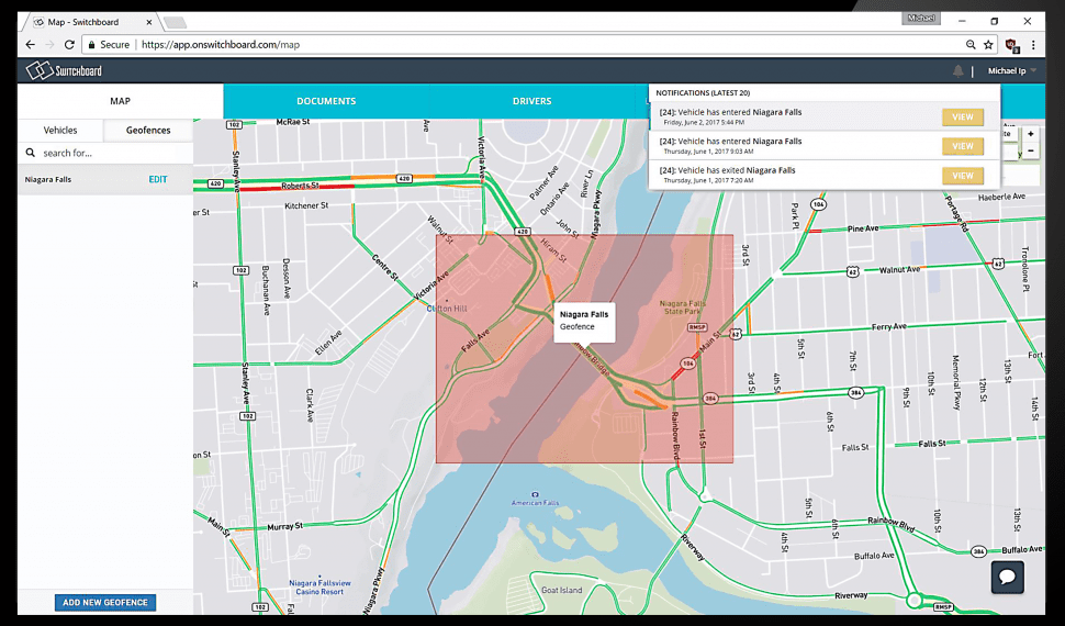 Switchboard geofencing