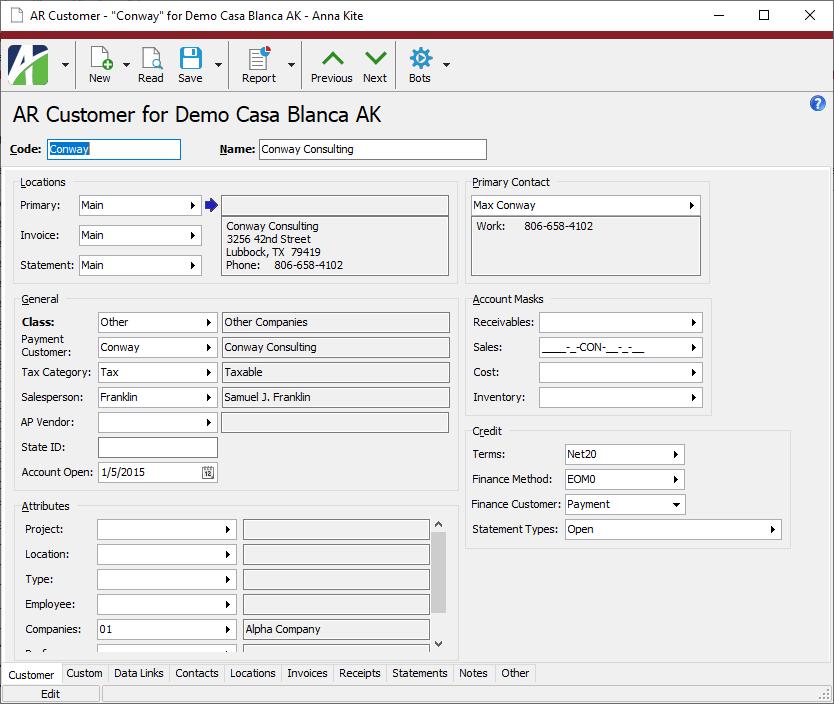 Activity HD Software - ActivityHD customer record