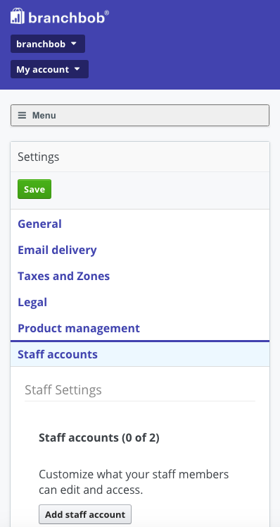 branchbob staff settings