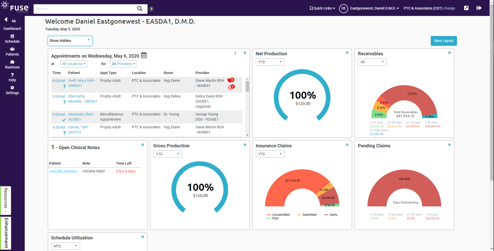 Practice-at-a-glance dashboard. See important, easy-to-digest data for any or all locations in real time. Click into further detail with our data widgets.