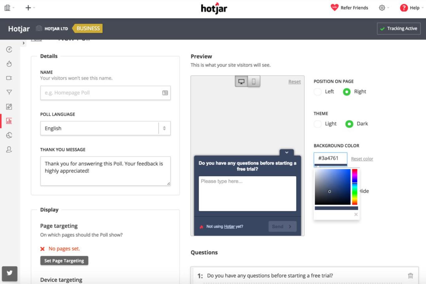 Hotjar survey preview
