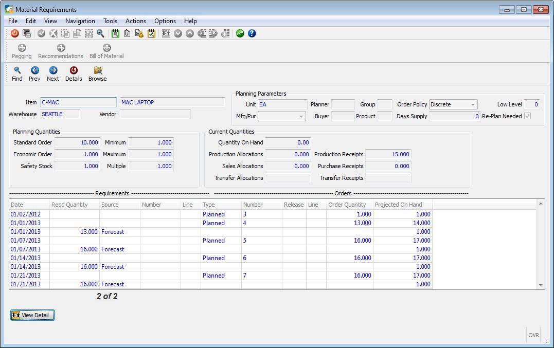 Fitrix ERP Software - Materials Resource Planning- Material Requirements