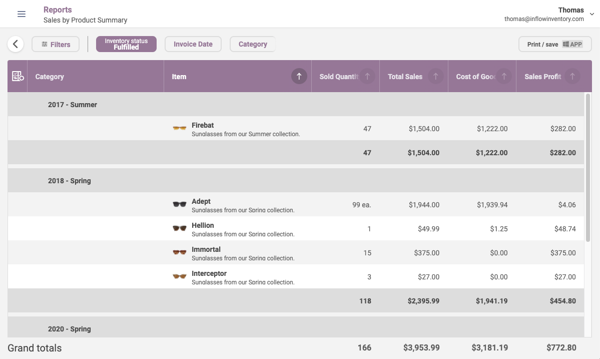 inFlow Inventory Web Reports