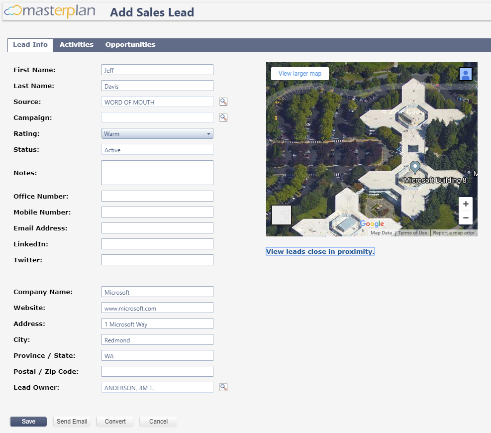 Masterplan add new sales lead screenshot