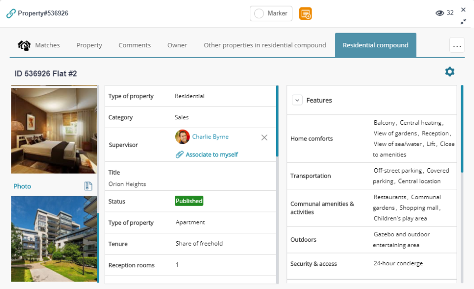 APRO CRM Software - Property profile