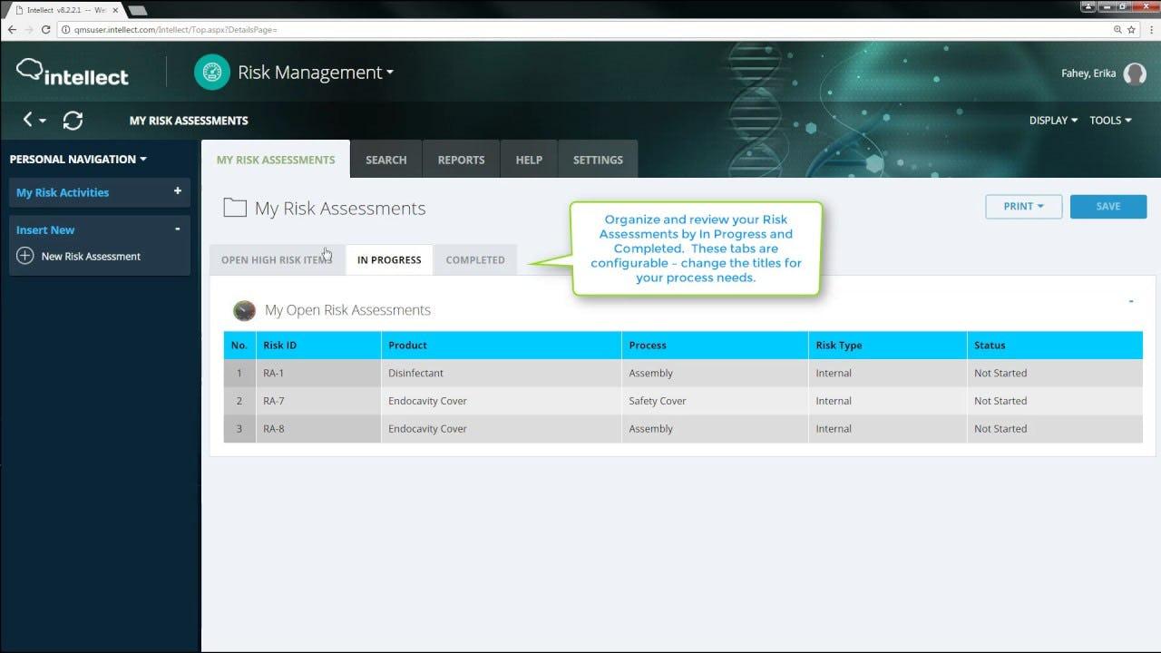Intellect Software - Intellect risk assessment