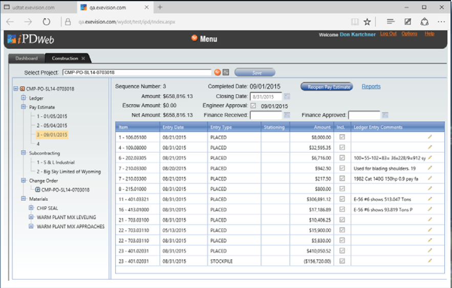 ExeVision's iPDWeb helps to track and maintain construction data