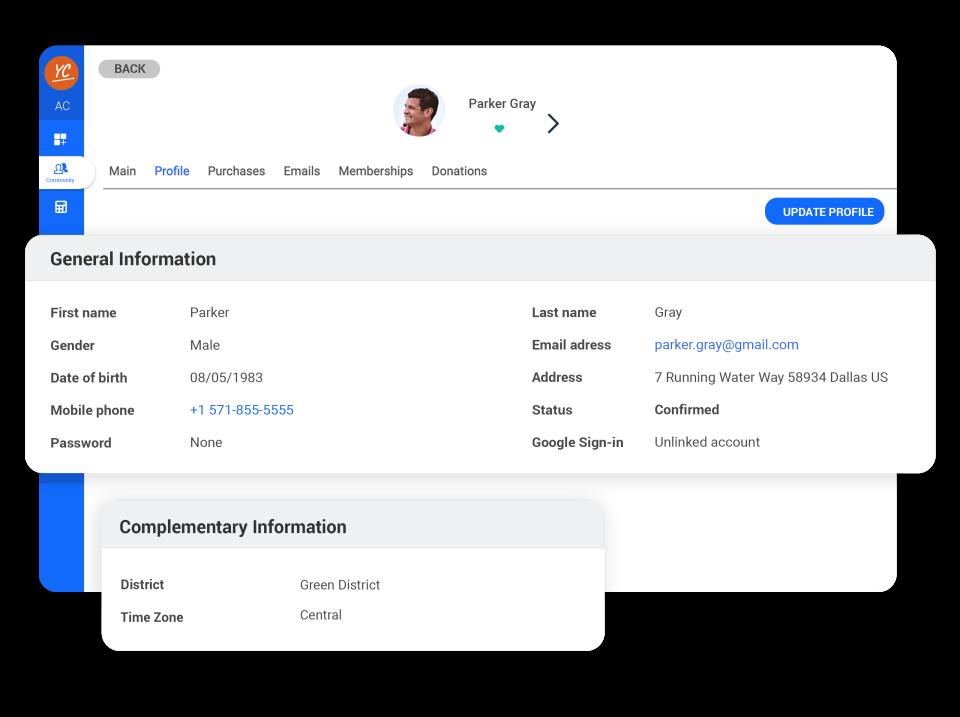 AssoConnect member profile