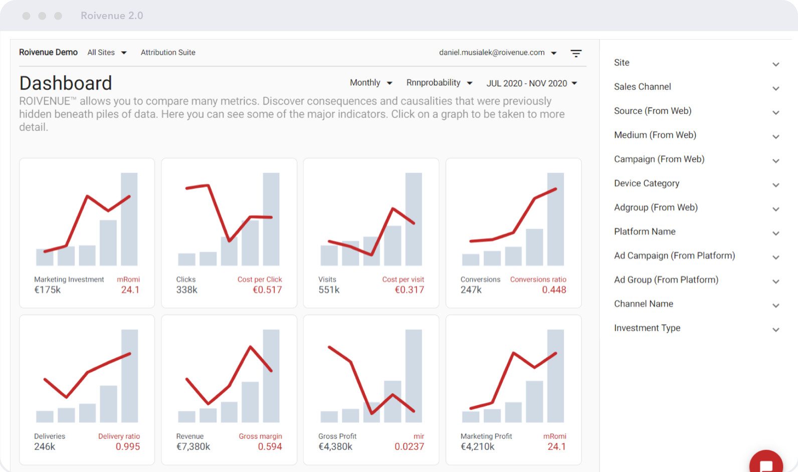 ROIVENUE Dashboard   See the whole marketing picture   All your marketing data can now be in the same place. There's no longer any need to switch between various systems to evaluate marketing performance.