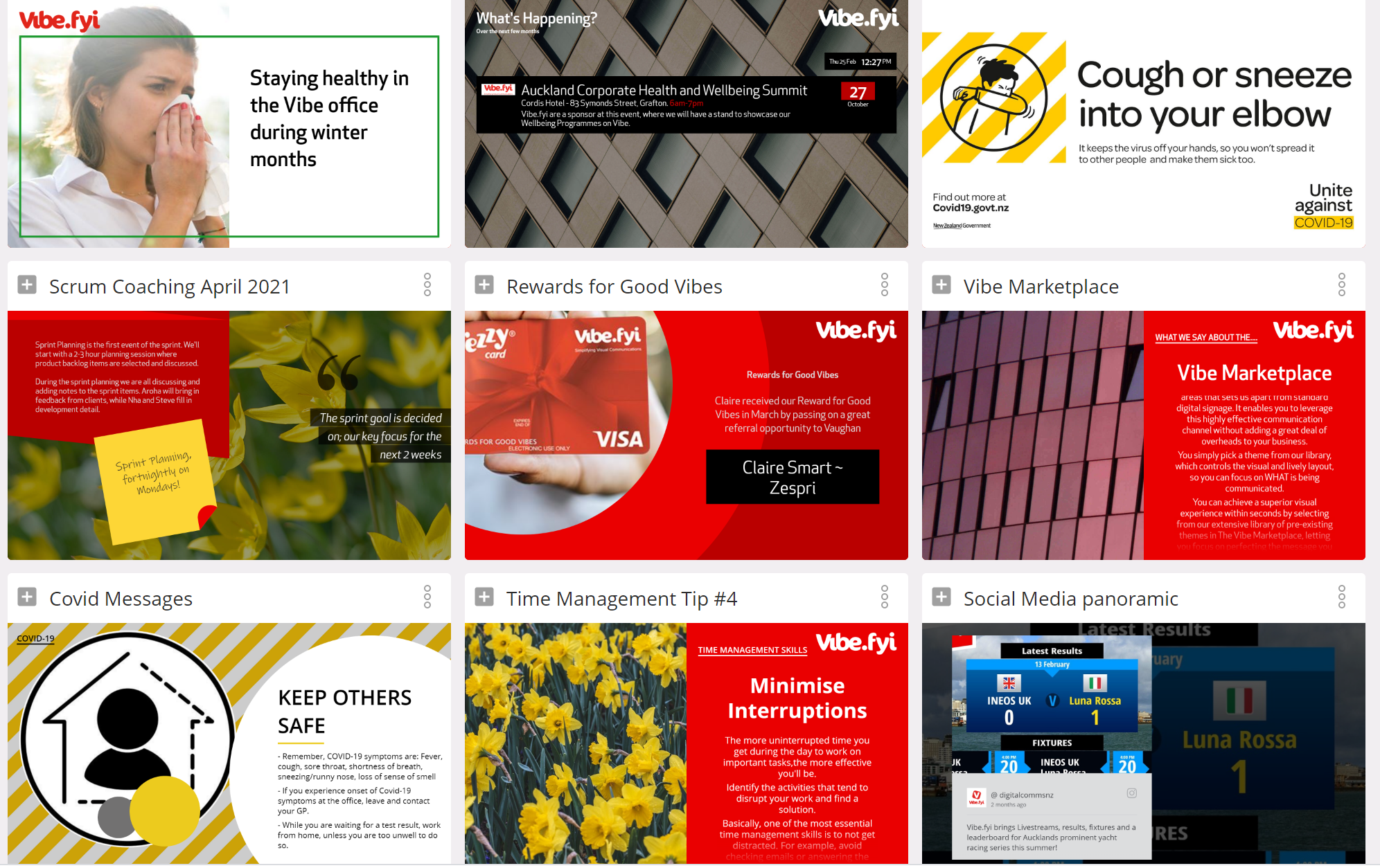 Vibe offers an extensive library of powerful slide templates.