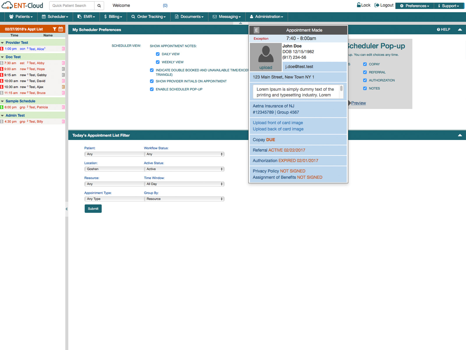 Appointment scheduler preview