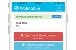 WhosOnLocation screenshot: Employees can use their mobile phone to tag themselves on-site or off-site and any location