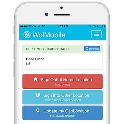 Employees can use their mobile phone to tag themselves on-site or off-site and any location