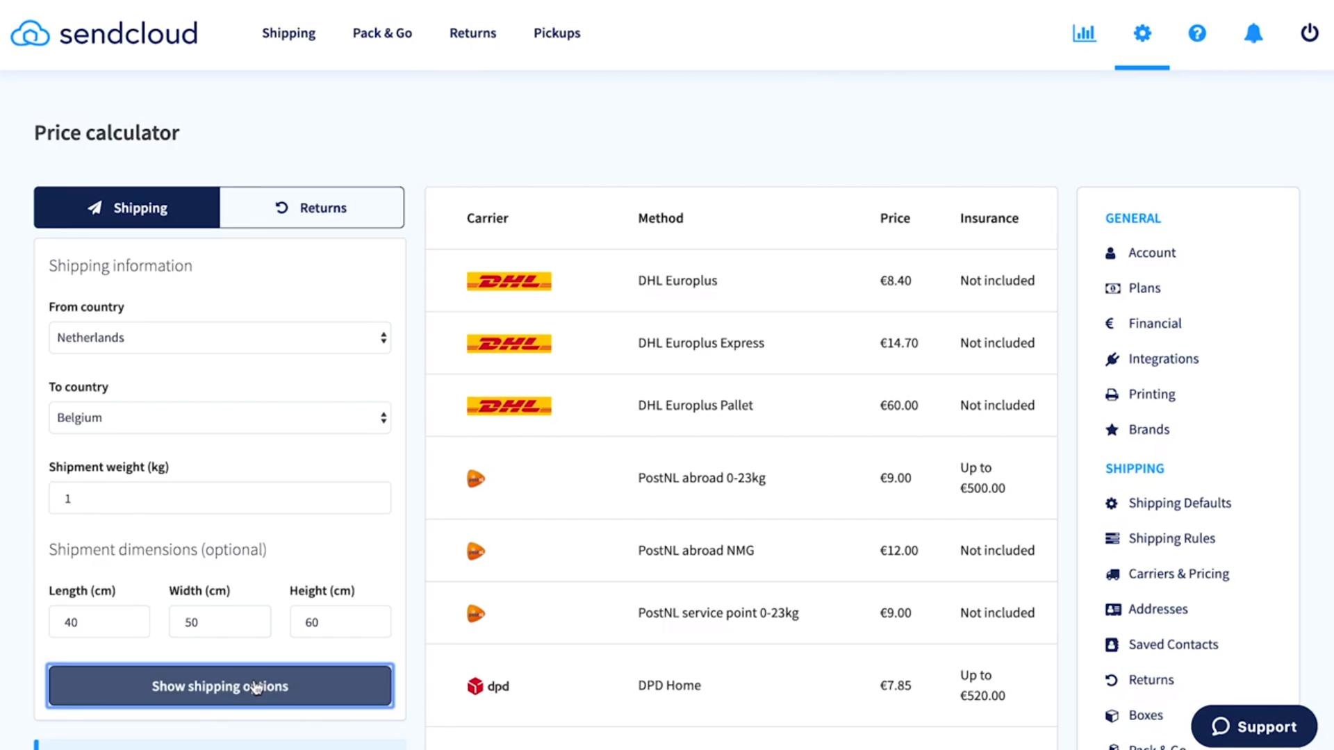 Sendcloud shipping price calculator