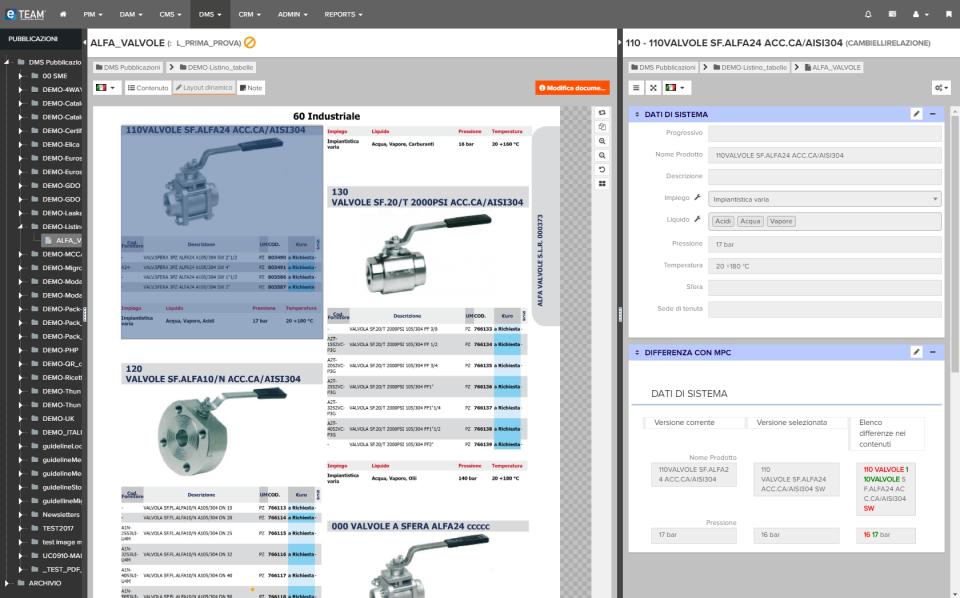 eTEAM screenshot: eTEAM document management system
