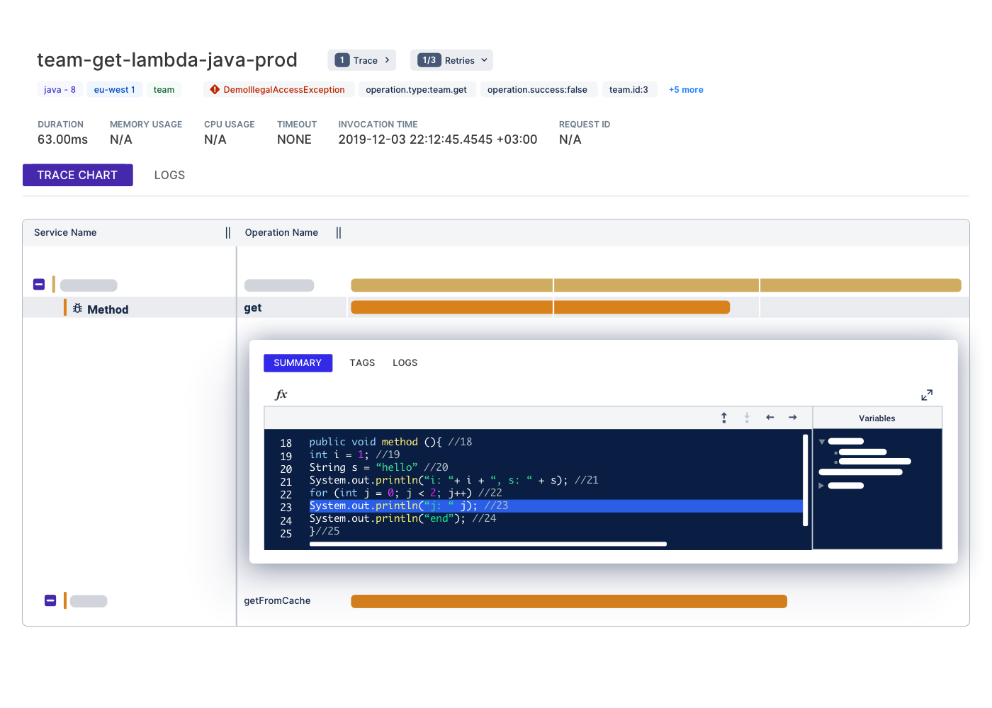 Thundra's offline-debugging enables you to step over each code line of your application after the execution and track the values of the local variables.