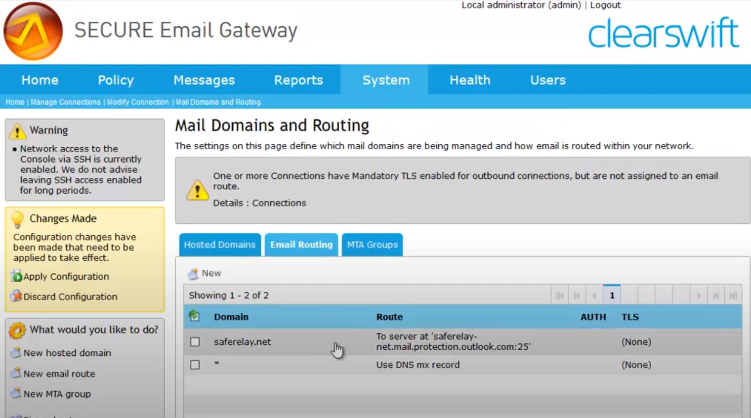 Clearswift SECURE Email Gateway mail domains
