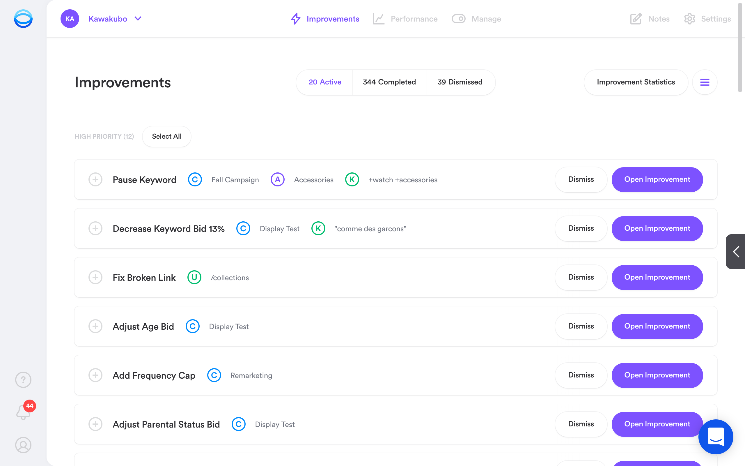 Opteo suggests improvements based on an account's conversion data and performance targets. Log in, review and - if you agree - push live to Google Ads in one click.