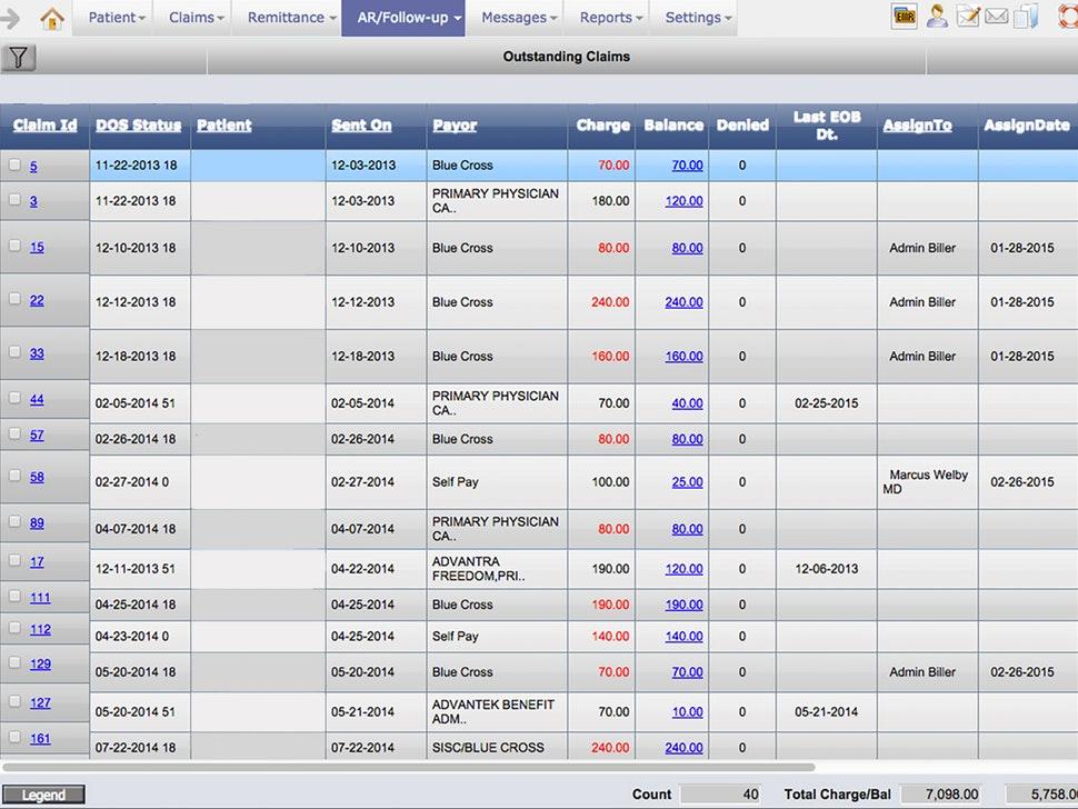 PrognoCIS EHR billing interface