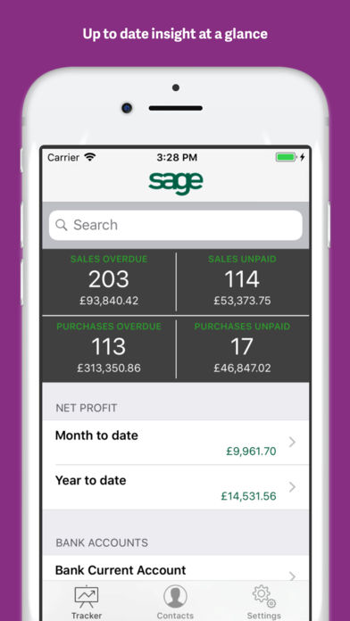 The Sage 50 Accounts Tracker mobile app for iOS and Android provides real-time business insight while on-the-go