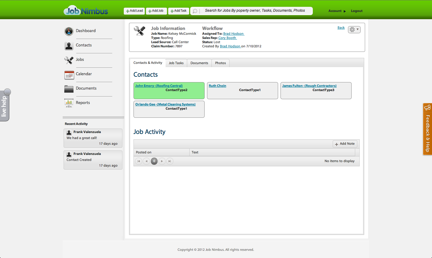 JobNimbus screenshot: Contact management in  JobNimbus