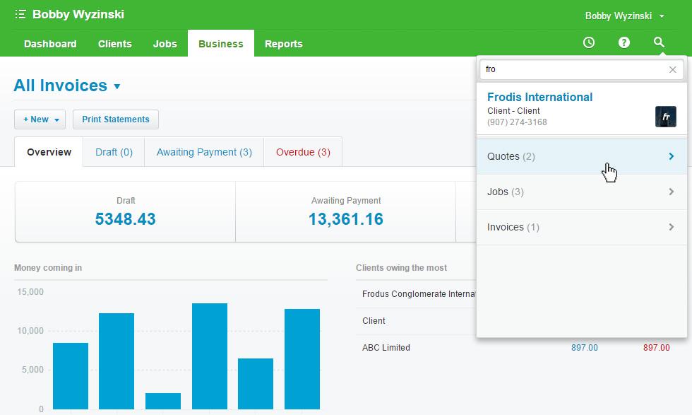 WorkflowMax Invoices