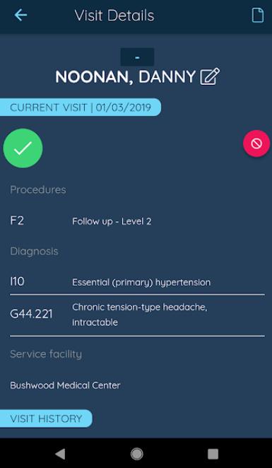 Claimocity visit details
