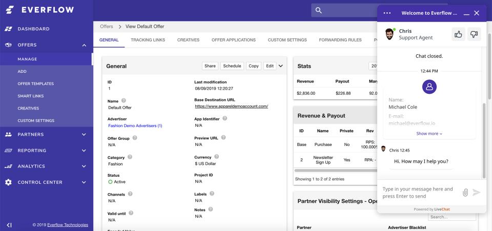 Everflow default offers