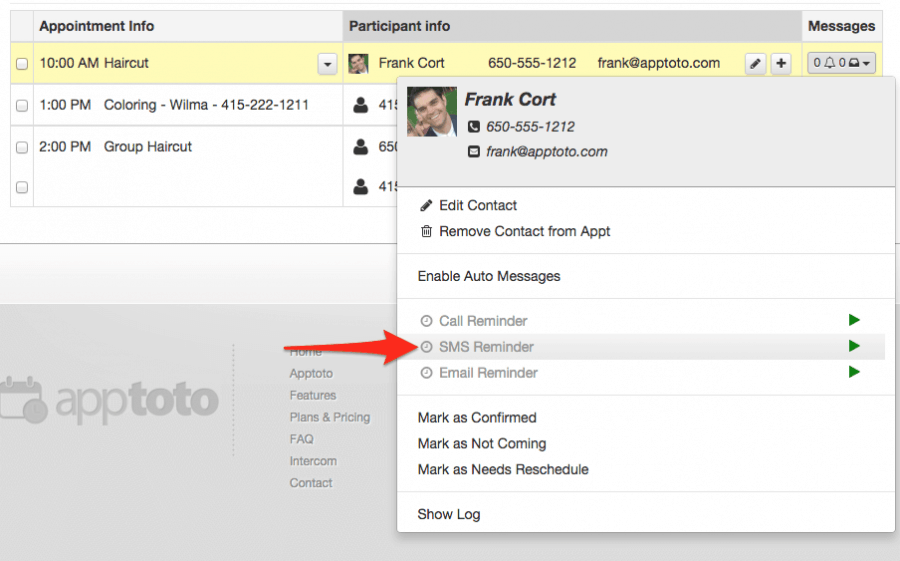 Apptoto appointment reminders screenshot